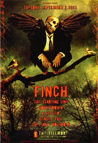 "Finch Poster from Fillmore Auditorium on 02 Sep 03: 13"" x 19"""