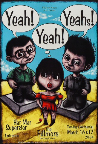 "Yeah Yeah Yeahs Poster from Fillmore Auditorium on 16 Mar 04: 13"" x 19"""