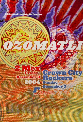 "Ozomatli Poster from Fillmore Auditorium on 03 Dec 04: 13"" x 19"""