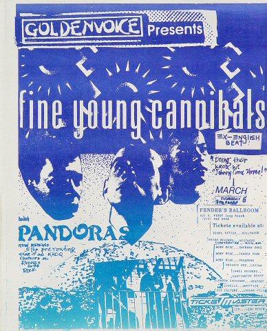 "Fine Young Cannibals Handbill from Fender's Ballroom on 06 Mar 86: 8 1/2"" x 11"""