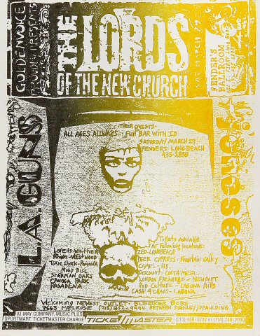 "Lords of the New Church Handbill from Fender's Ballroom on 29 Mar 86: 8 1/2"" x 11"""