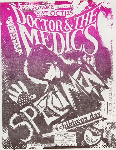 "Doctor and the Medics Handbill from Fender's Ballroom on 25 Oct 86: 8 1/2"" x 11"""
