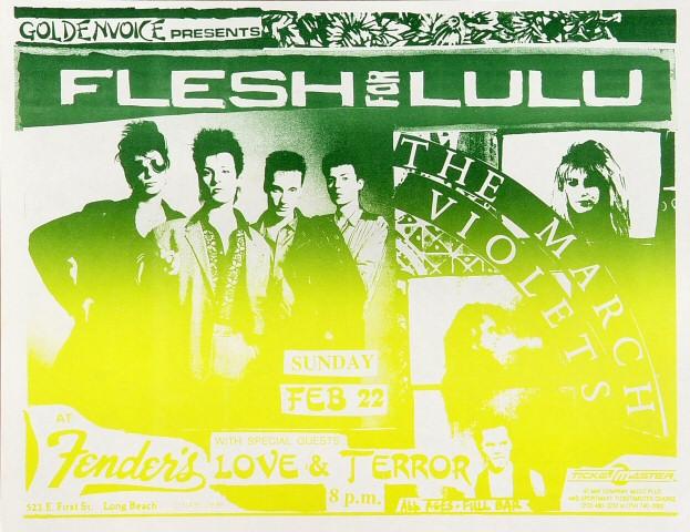"Flesh for Lulu Handbill from Fender's Ballroom on 22 Feb 87: 8 1/2"" x 11"""