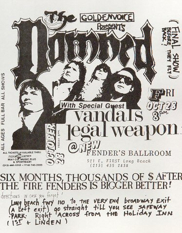 "The Damned Handbill from Fender's Ballroom on 28 Oct 88: 8 1/2"" x 11"""