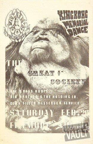 """Great Society Handbill from Fillmore Auditorium on 26 Feb 66: 5 1/2"""" x 8 1/2"""""""