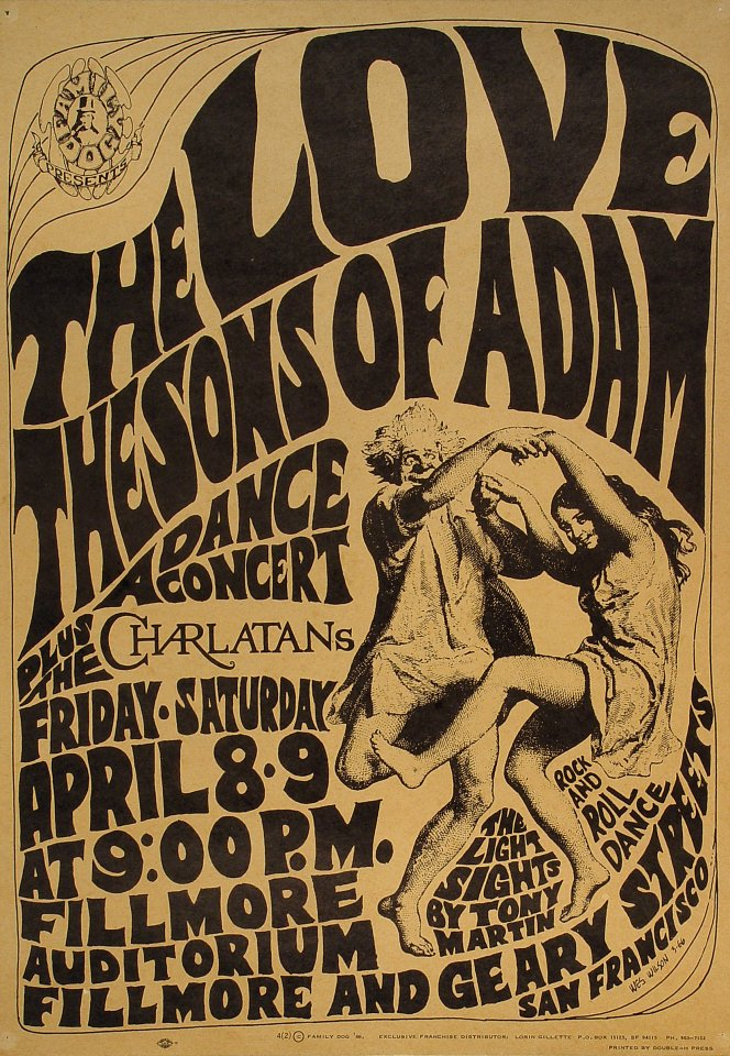 """Love Poster from Fillmore Auditorium on 08 Apr 66: 14 1/8"""" x 20"""""""