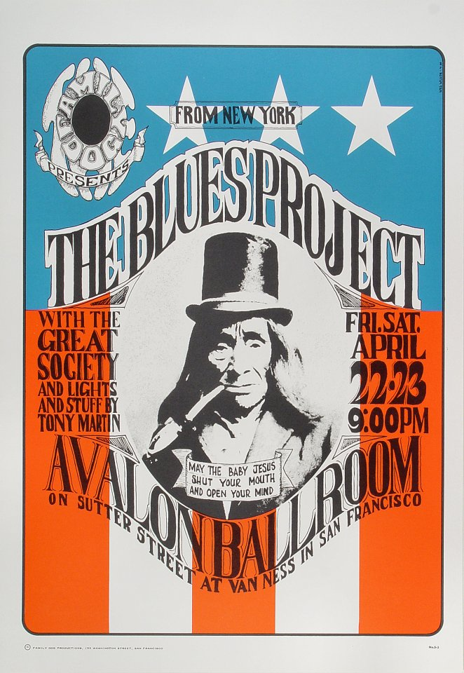 "The Blues Project Poster from Avalon Ballroom on 22 Apr 66: 14"" x 20"""