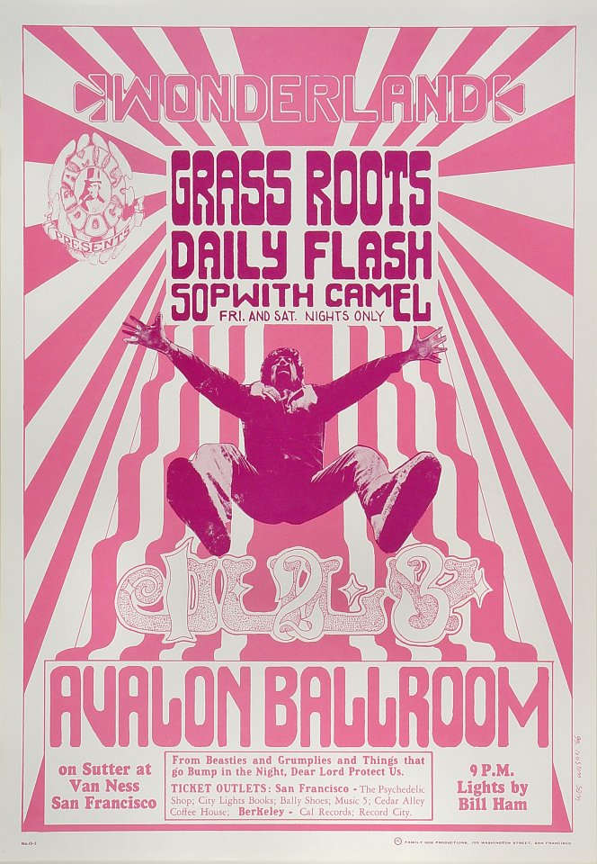 """The Grass Roots Poster from Avalon Ballroom on 01 Jul 66: 14 1/8"""" x 20"""""""