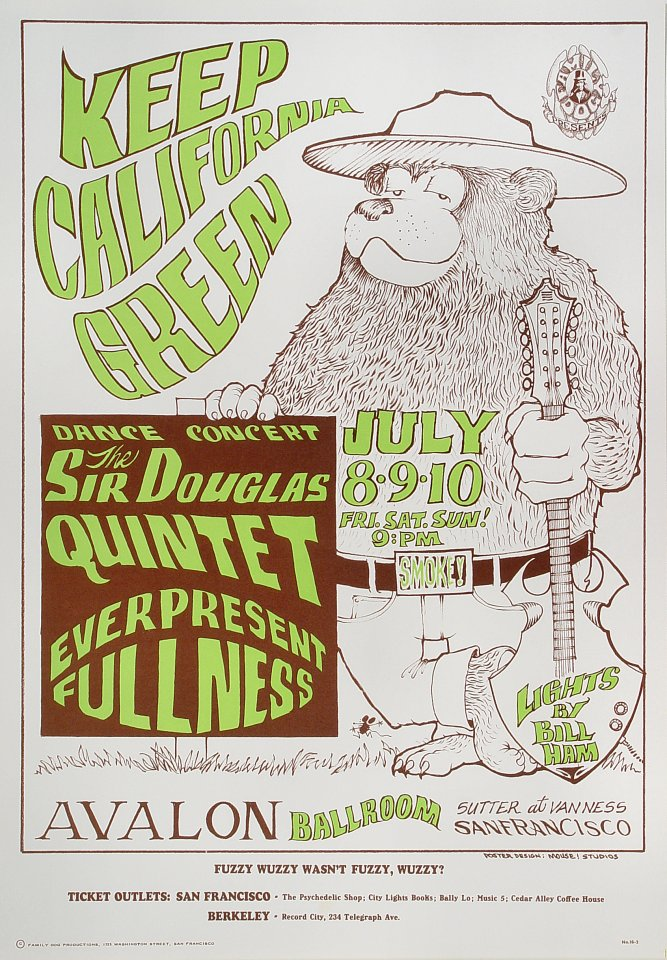 "The Sir Douglas Quintet Poster from Avalon Ballroom on 08 Jul 66: 14 1/4"" x 20 1/2"""