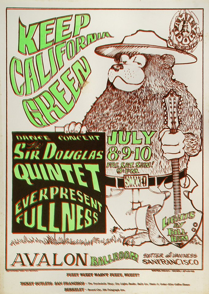 "The Sir Douglas Quintet Poster from Avalon Ballroom on 08 Jul 66: 14 3/16"" x 19 7/8"""