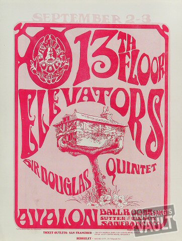 "13th Floor Elevators Handbill from Avalon Ballroom on 02 Sep 66: 9 1/2"" x 12 1/2"""