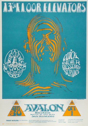"13th Floor Elevators Poster from Avalon Ballroom on 30 Sep 66: 14 1/4"" x 19 15/16"""