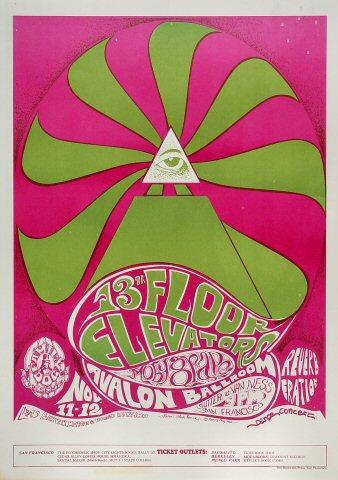 """13th Floor Elevators Poster from Avalon Ballroom on 11 Nov 66: 14 1/8"""" x 20"""""""