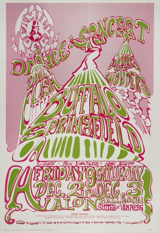 "Buffalo Springfield Poster from Avalon Ballroom on 02 Dec 66: 14"" x 20"""
