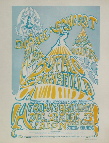 "Buffalo Springfield Handbill from Avalon Ballroom on 02 Dec 66: 8 1/2"" x 11"""