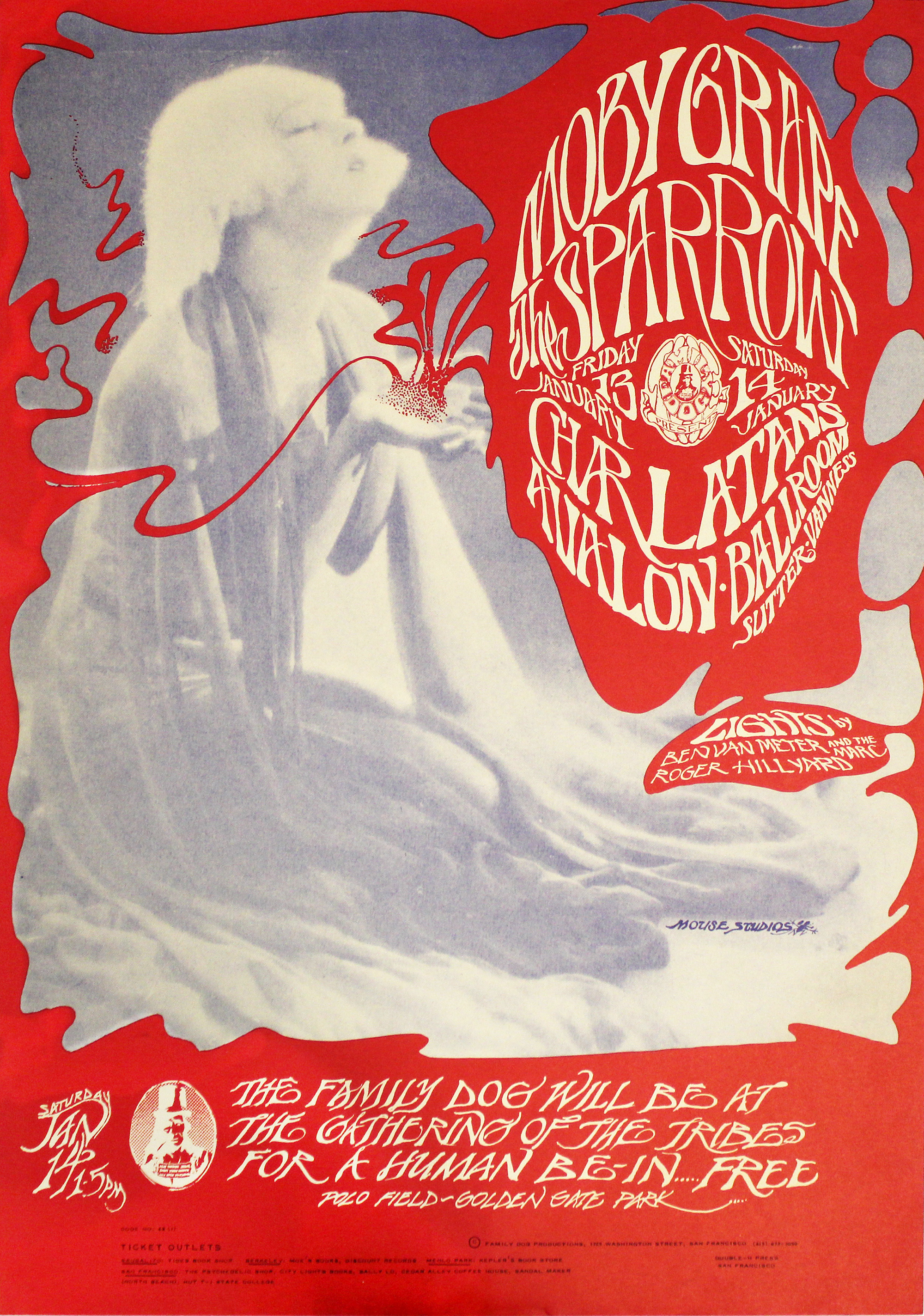 "Moby Grape Poster from Avalon Ballroom on 13 Jan 67: 14"" x 19 15/16"""