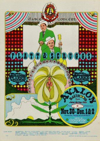 "Flatt and Scruggs Postcard from Avalon Ballroom on 30 Nov 67: 5"" x 7"""