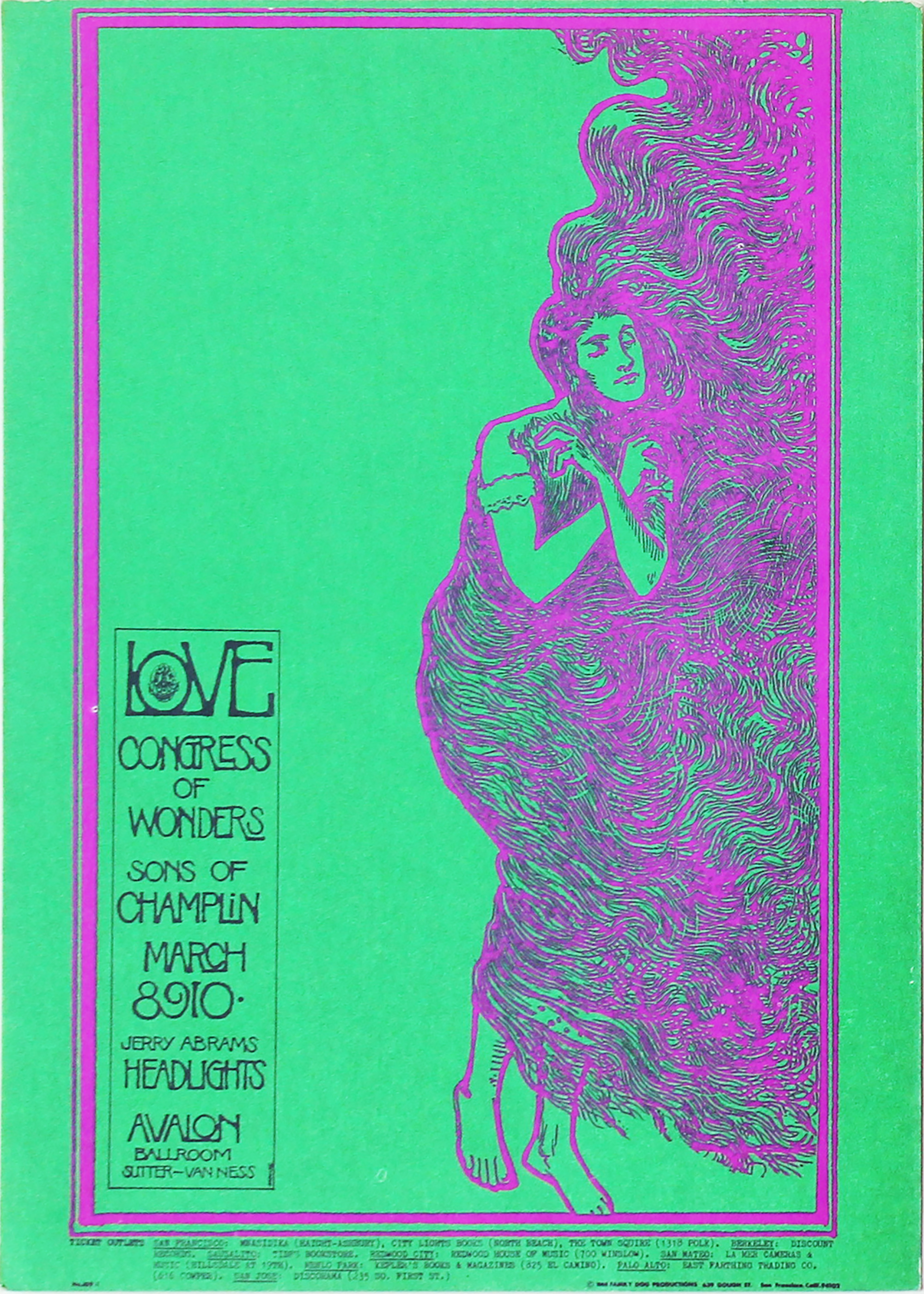 "Love Postcard from Avalon Ballroom on 08 Mar 68: 5"" x 7"""