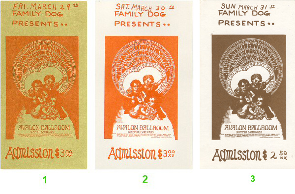 The Fourth Way 1960s Ticket from Avalon Ballroom on 29 Mar 68: Ticket One