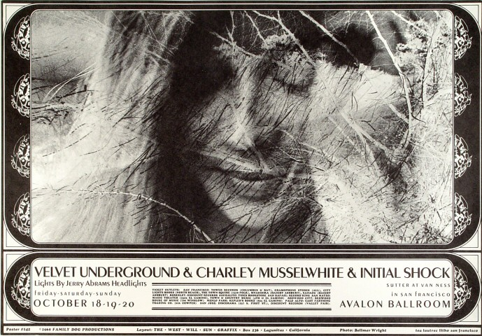 "The Velvet Underground Poster from Avalon Ballroom on 20 Oct 68: 13 7/8"" x 19 7/8"""