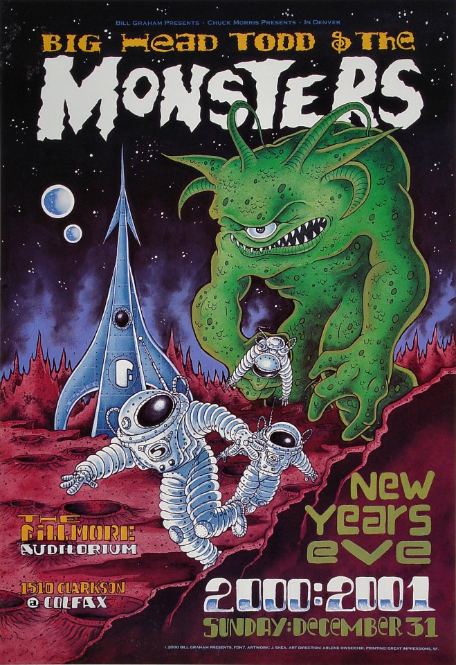"Big Head Todd & The Monsters Poster from Fillmore Denver on 31 Dec 00: 13"" x 19"""