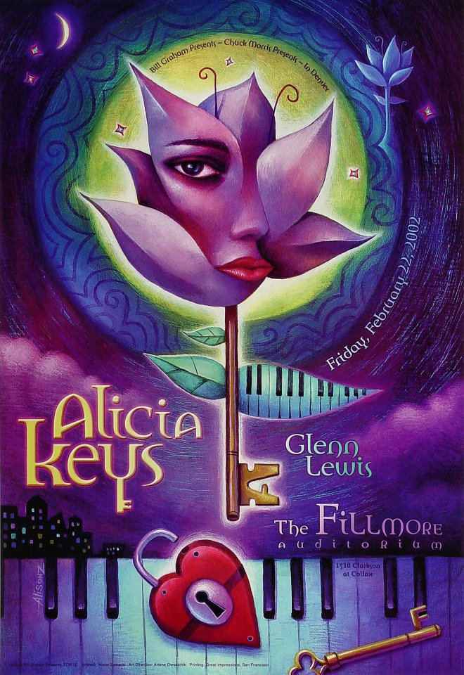 "Alicia Keys Poster from Fillmore Denver on 22 Feb 02: 13"" x 19"""