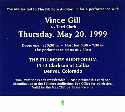 Vince Gill 1990s Ticket from Fillmore Denver on 20 May 99: Ticket One