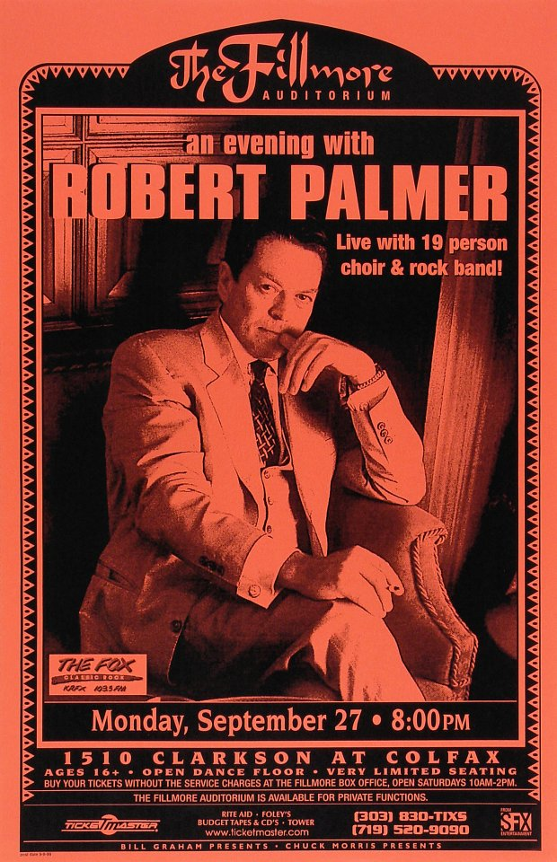 "Robert Palmer Poster from Fillmore Denver on 27 Sep 99: 11"" x 17"""