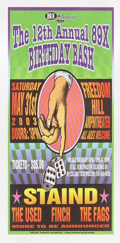 "Staind Handbill from Freedom Hill Amphitheater on 31 May 03: 4 1/4"" x 8 5/8"""