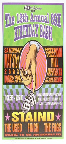 "Staind Poster from Freedom Hill Amphitheater on 31 May 03: 10 1/2"" x 22 1/4"""