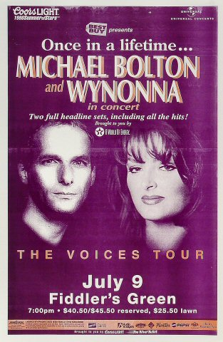 "Michael Bolton Poster from Fiddlers Green Amphitheatre on 09 Jul 98: 11"" x 17"""