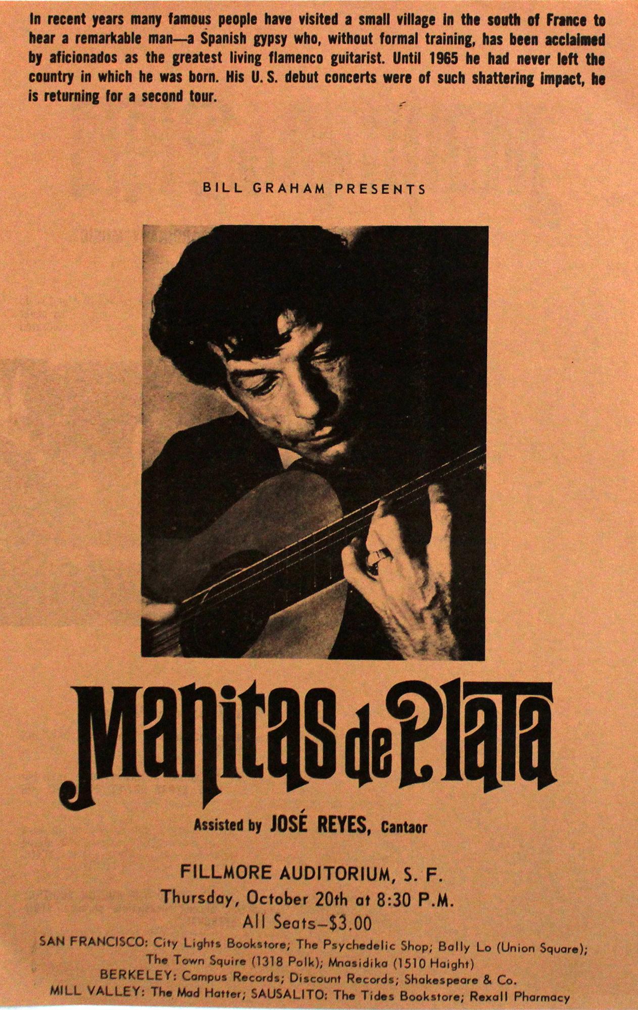 """Manitas de Plata Handbill from Fillmore Auditorium on 20 Oct 66: 5 3/8"""" x 8 1/2"""""""