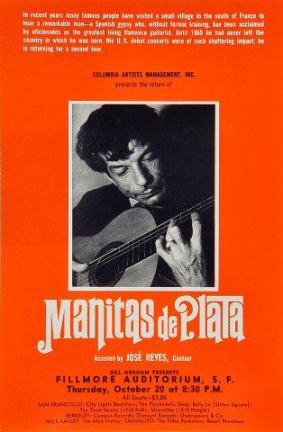 """Manitas de Plata Handbill from Fillmore Auditorium on 20 Oct 66: 5 7/8"""" x 9"""""""