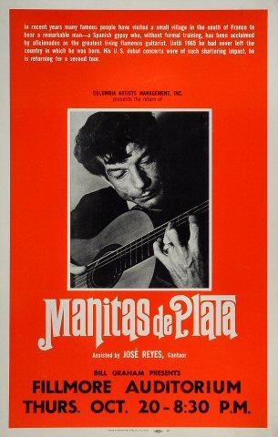 "Manitas de Plata Poster from Fillmore Auditorium on 20 Oct 66: 14 1/8"" x 22"""