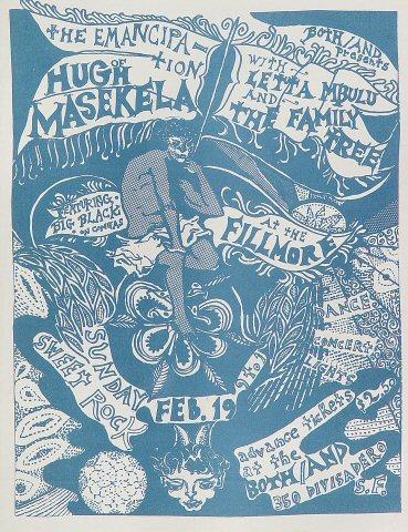 """Hugh Masekela Handbill from Fillmore Auditorium on 19 Feb 67: 8 1/2"""" x 11"""""""