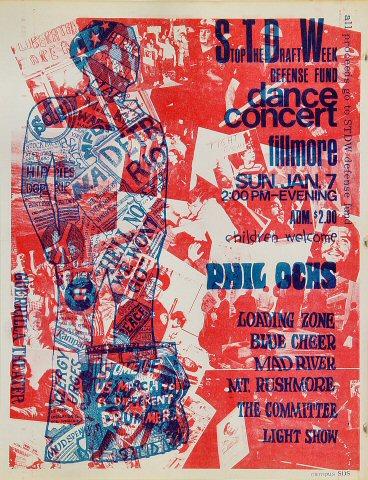 """Phil Ochs Handbill from Fillmore Auditorium on 07 Jan 68: 8 1/2"""" x 11"""""""