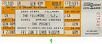 The Pogues 1980s Ticket from Fillmore Auditorium on 03 Jun 88: Ticket One