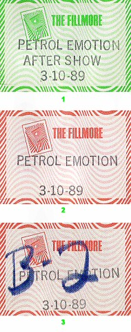 That Petrol Emotion Backstage Pass from Fillmore Auditorium on 10 Mar 89: Pass 3