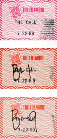 The Call Backstage Pass from Fillmore Auditorium on 22 Jul 89: Pass 3