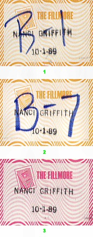 Nanci Griffith Backstage Pass from Fillmore Auditorium on 01 Oct 89: Pass 1
