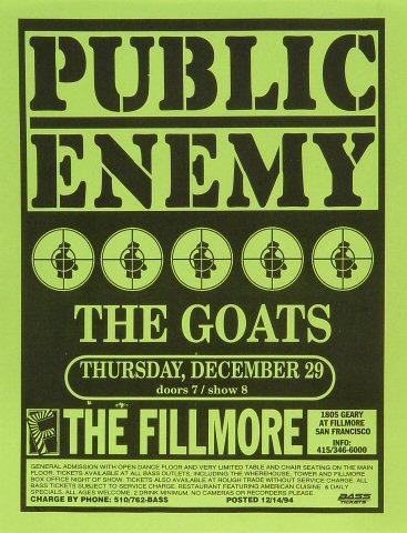 """Public Enemy Handbill from Fillmore Auditorium on 29 Dec 94: 8 1/2"""" x 11"""""""