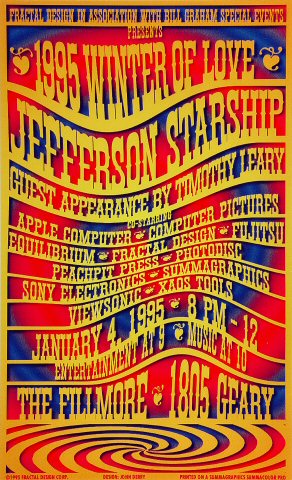 "Jefferson Starship Poster from Fillmore Auditorium on 04 Jan 95: 9"" x 14 3/4"""