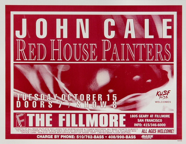 "John Cale Poster from Fillmore Auditorium on 15 Oct 96: 8 1/2"" x 11"""