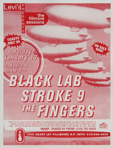 "Black Lab Handbill from Fillmore Auditorium on 17 Jan 98: 8 1/2"" x 11"""