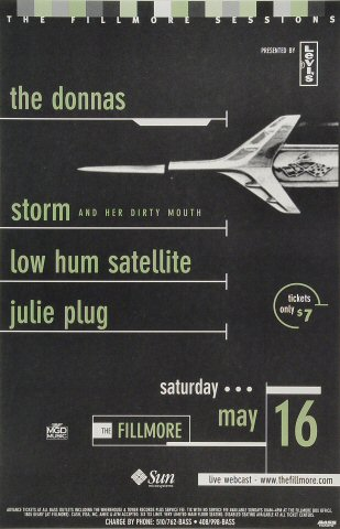 "The Donnas Poster from Fillmore Auditorium on 16 May 98: 11"" x 17"""