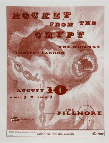 """Rocket from the Crypt Poster from Fillmore Auditorium on 10 Aug 98: 8 1/2"""" x 11"""""""