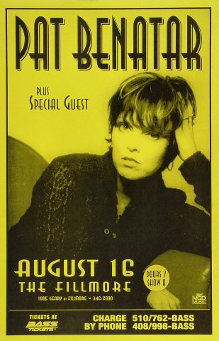 "Pat Benatar Poster from Fillmore Auditorium on 16 Aug 98: 11"" x 17"""