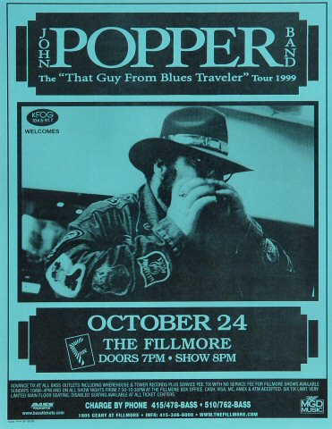 "John Popper Handbill from Fillmore Auditorium on 24 Oct 99: 8 1/2"" x 11"""