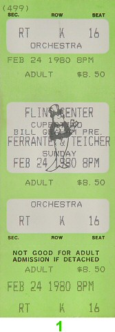 Ferrante and Teicher 1980s Ticket from Flint Center on 24 Feb 80: Ticket One