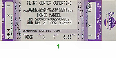 Howie Mandel 1990s Ticket from Flint Center on 31 Dec 95: Ticket One